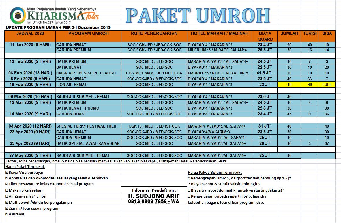 Paket Umroh Murah Promo 2020 Kharisma Tour Travel Solo