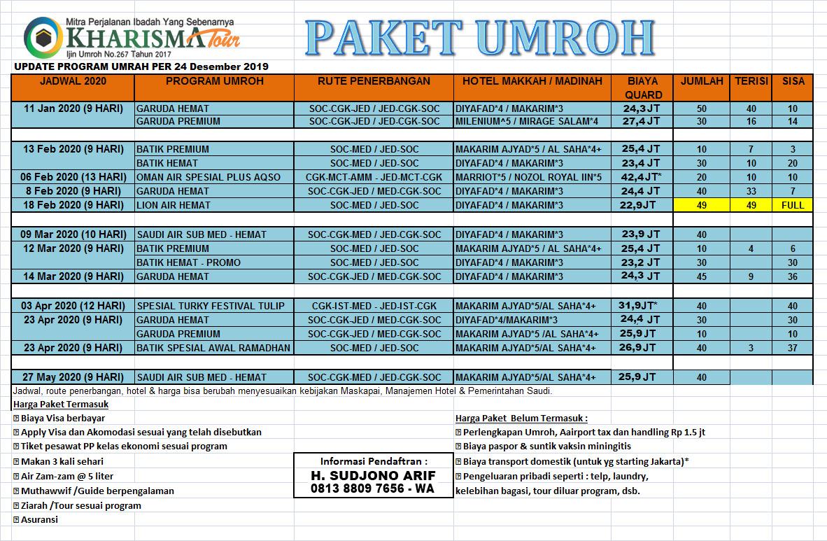 Paket Umroh Kharisma Tour Travel Solo Promo Murah